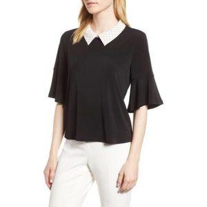 Black & Cream Polka Dot Collar CeCe Top Size XL